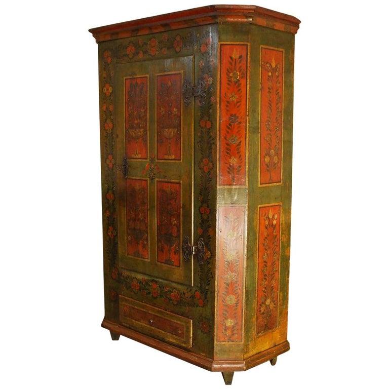 Antique German Decorative Hand Painted One Door Wardrobe Cabinet For Sale