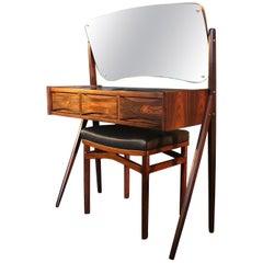 Midcentury Rosewood Vanity Unit and Stool, Arne Vodder