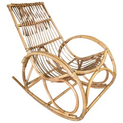 Restored Oversized Stick Rattan Rocking Chair in the Style of Franco Albini