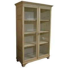Antique Ivory Painted Glazed Oak Cabinet or Vitrine