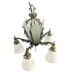 Art Deco Slat Glass Hanging Light Chandelier with Geometric Details