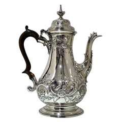 Mid-18th Century Antique George III Sterling Silver Rococo Coffee Pot, London