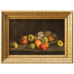 19th Century Oil on Canvas French Signed and Dated Still Life Painting, 1887