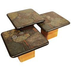 1990, 3 Coffee Tables Set by Kneip, Oak, Slate, Copper, Brass Marquetry, Germany
