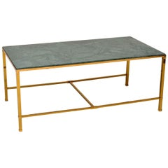 1950s Vintage Brass and Marble Coffee Table