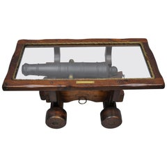 Vintage USS Constitution Simulated Naval Cannon Wooden Coffee Table