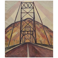 Bridge and Mountain Landscape Painting by Edgar Hewitt Nye