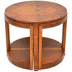 1920s Art Deco Vintage Walnut Nesting Coffee Table