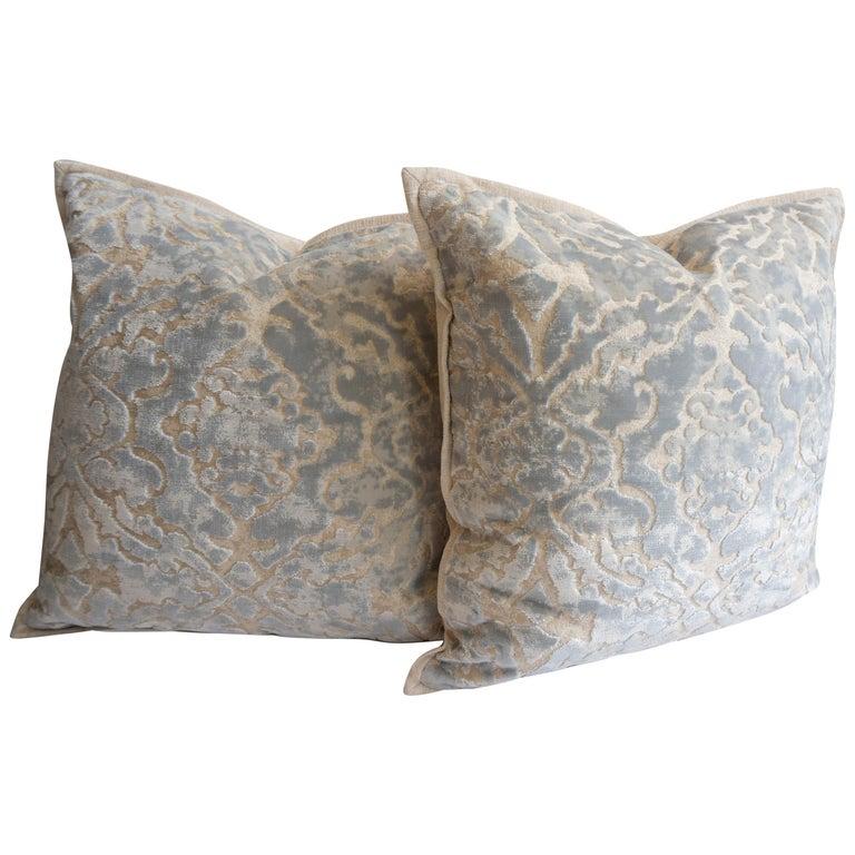 Throw Pillows in Cut Velvet Damask Pattern For Sale