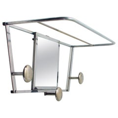 Art Deco French Industrial Chrome Coat and Hat Rack with Mirror, 1930s