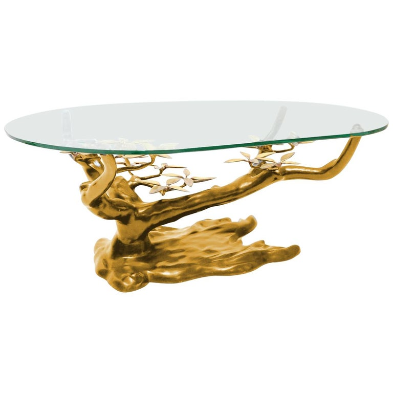 Massive Brass Coffee Table in the Style of Willy Daro Belgium, 1970s For Sale