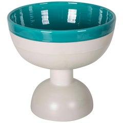 "Ettore Sottsass Green and White Ceramic Vase ""Bolo Bowl"""