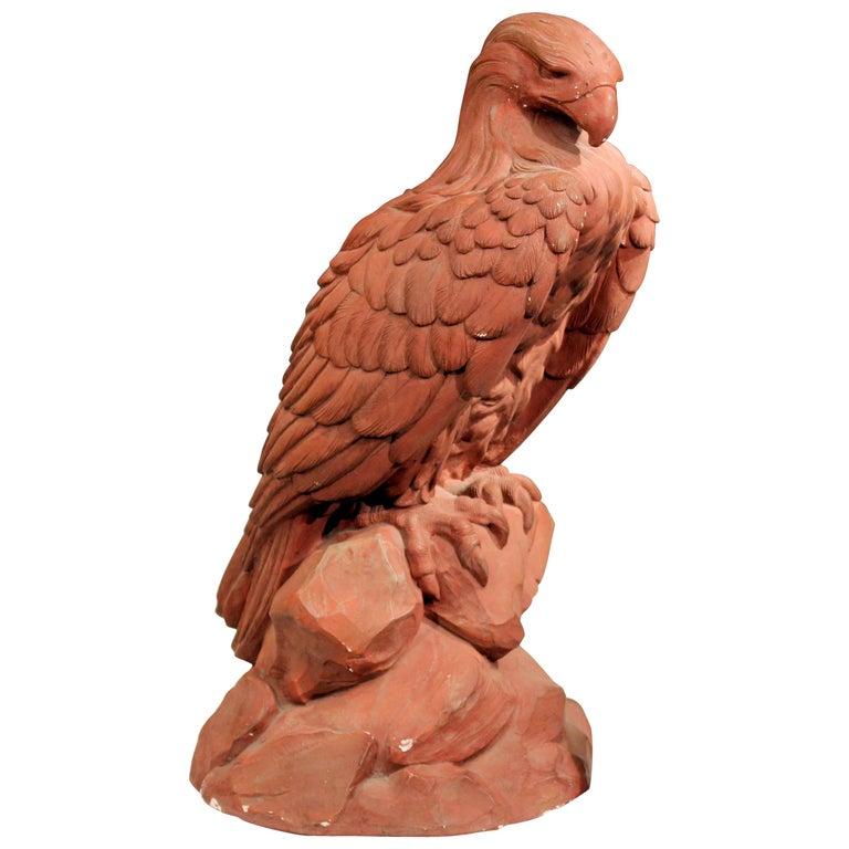 American Golden Eagle Sculpture Large Painted Plaster Figure Signed For Sale