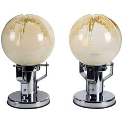 Pair of Murano Glass and Chrome Base Table Lamps