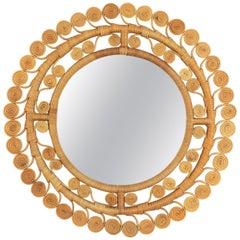Spanish, 1960s Mediterranean Boho Style Filigree Wicker & Rattan Circular Mirror