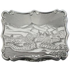 Victorian Silver Castle-Top Vinaigrette, Old Balmoral Castle, by N Mills, 1849