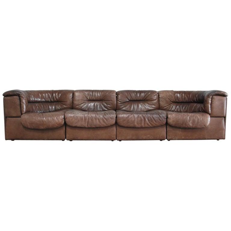 De Sede Modul Vintage Leather Sofa brown For Sale