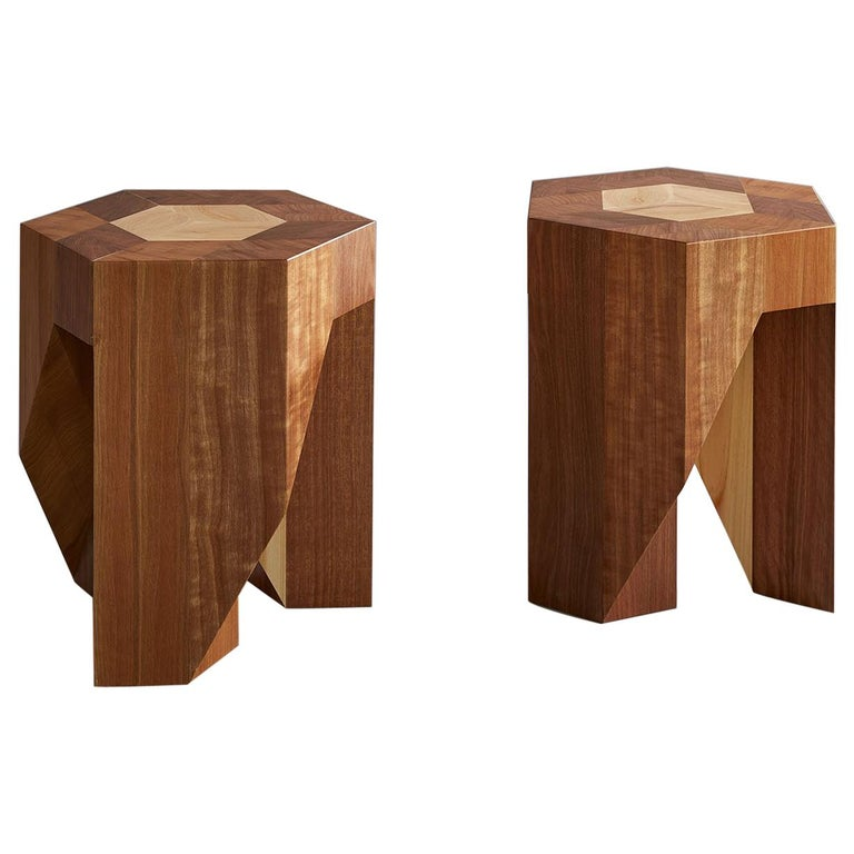 Contemporary wooden Japanese Style Multi-Functional Pair of Stools by Tamen   For Sale