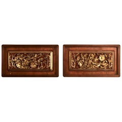 Pair of Antique Panels from a Decorative Screen, Probably Siamese