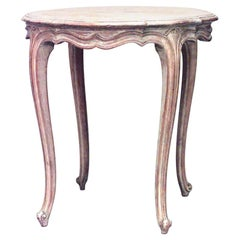 French Louis XV Style Round Bleached End Table