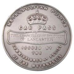 Victorian Rare Silver Metropolitan Police Pass, London, circa 1930