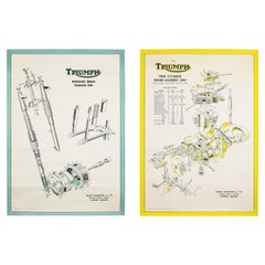 Pair of Triumph Motorcycle Original Technical Posters, England, 1950s