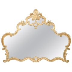 French Louis XV Style Bleached Wall Mirror