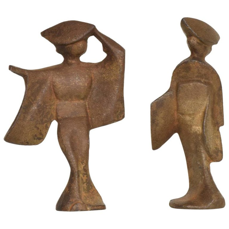 Mid-Century Modern Pair of Cast Iron Japanese Dancers Paper Weights For Sale