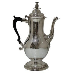 Mid-18th Century Antique George III Sterling Silver Coffee Pot, London, Rober
