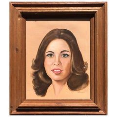 1980s Oil Portrait of a Lady with Brunette Hair on Canvas in Wood Frame
