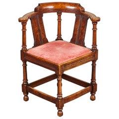 18th Century George III Oak and Elm Corner Chair