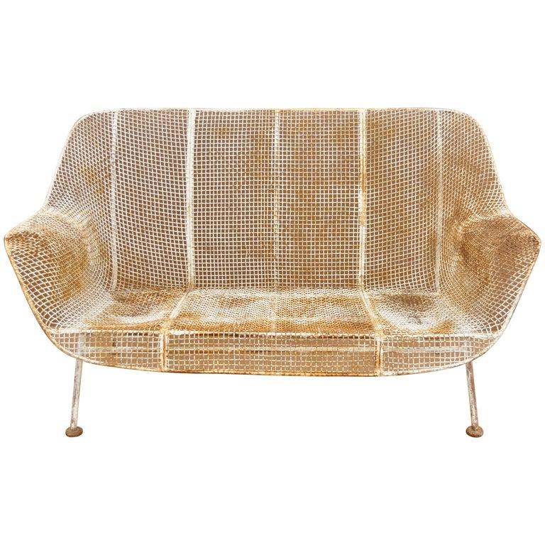 Awe Inspiring Vintage Russell Woodard Sculptura Metal Mesh Wrought Iron Loveseat Sofa Machost Co Dining Chair Design Ideas Machostcouk