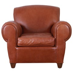Art Deco Style Brown Leather Club Chair by Mitchell Gold