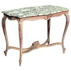 French Louis XV Style Marble Top Center Table