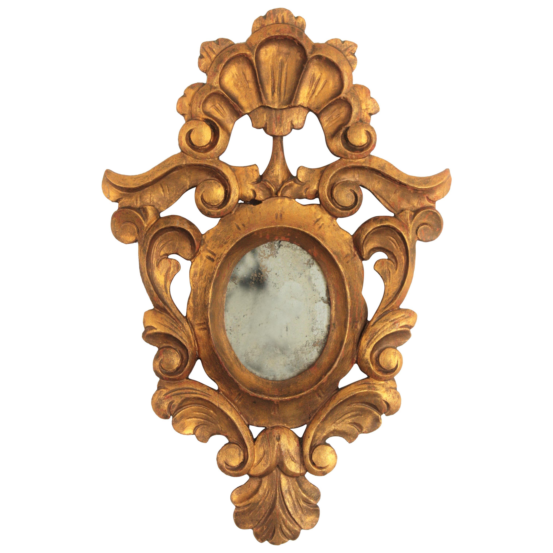 Small Spanish Rococo Style Giltwood Mirror