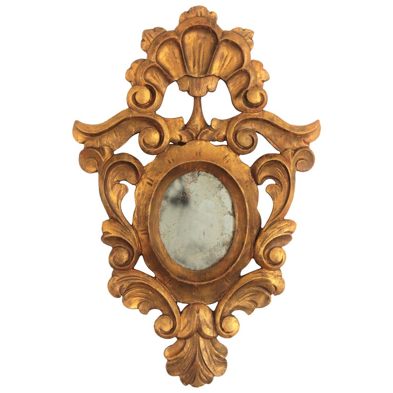 Small Spanish Rococo Style Giltwood Mirror For Sale