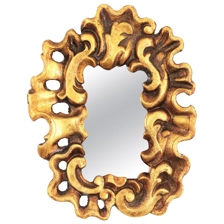 Unusual Art Nouveau Style Carved Giltwood Mini Sized Mirror, Spain, 1920s For Sale