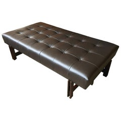 1960s, Leather and Rosewood Bench by Ice Parisi