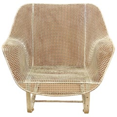 Vintage Russell Woodard Sculptura Metal Mesh Wrought Iron Bouncer Lounge Chair