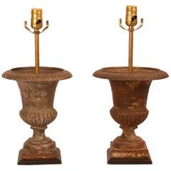 Pair of Iron Urn Lamps, circa 1900
