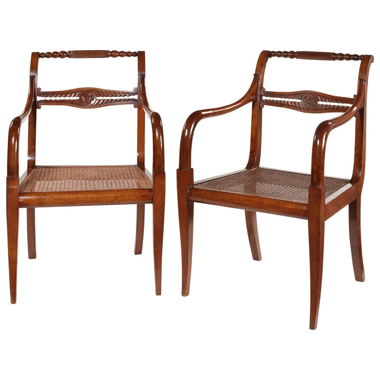 Pair of Empire Carved Mahogany Open Armchairs For Sale