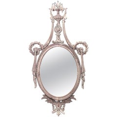 English Adam Style Bleached Wood Wall Mirror