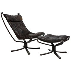 Sigurd Ressel Falcon High Back Sling Lounge Chair and Ottoman by Vatne Mobler