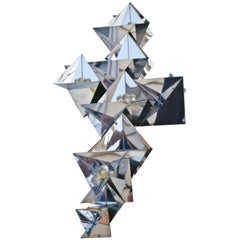 Curtis C. Jere Prismatic Metal Wall Hanging Sculpture with Lucite Balls