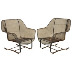 Pair of Russell Woodard Sculptura Metal Mesh Wrought Iron Bouncer Lounge Chairs