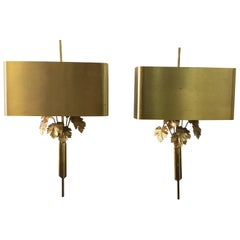 Maison Charles Brass Fig Leaf Wall Sconces, Pair