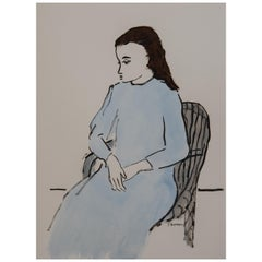 Resting Girl Portrait Unframed Drawing Acrylic 100% Cotton Paper Intimist Modern