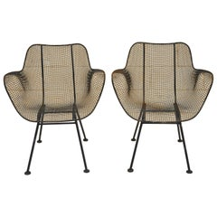 Pair of Russell Woodard Sculptura Metal Mesh Wrought Iron Dining Side Chairs