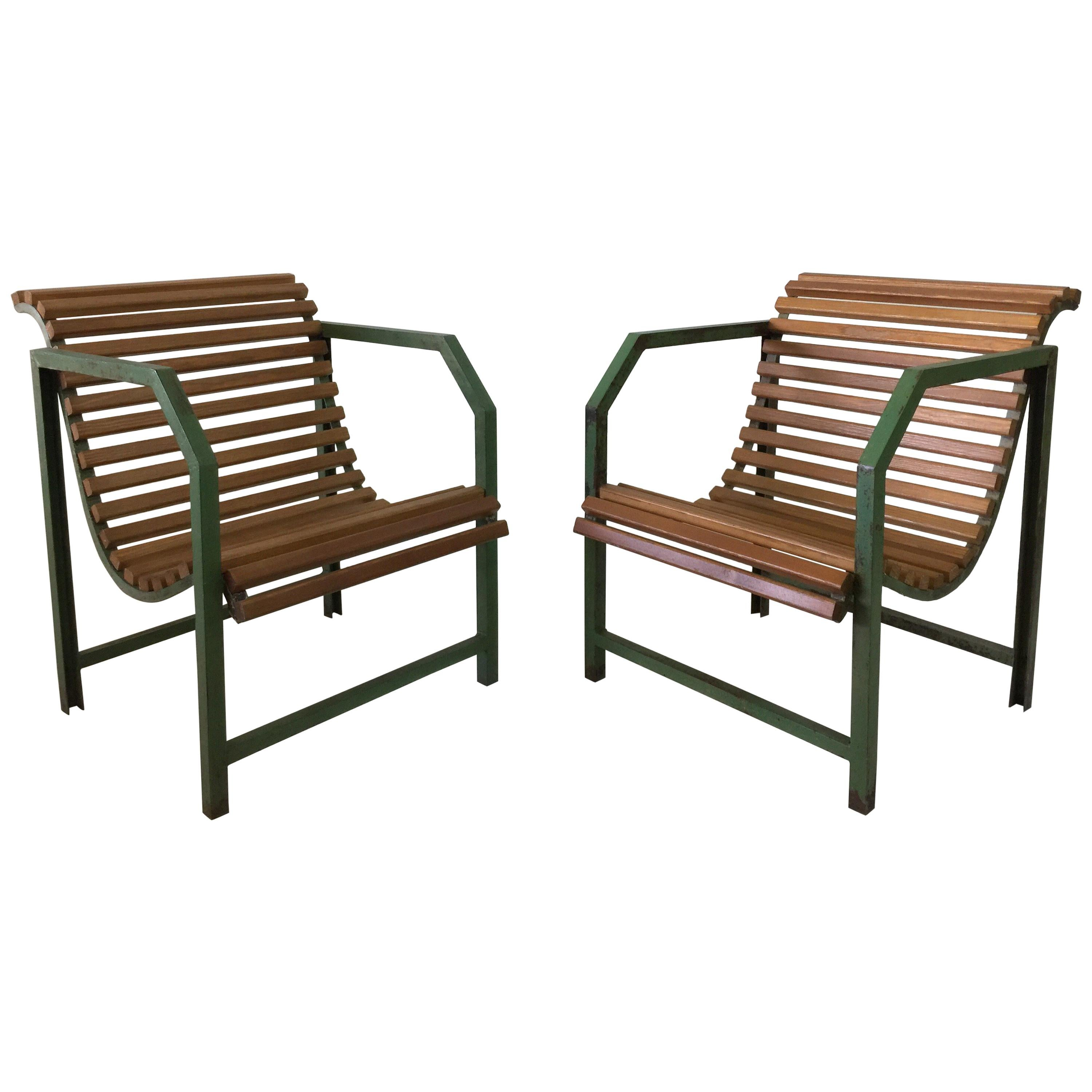 French Industrial Metal Chairs For Sale