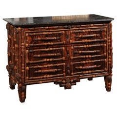 French Vintage Midcentury Three-Drawer Chest with Pinecone and Walnut Motifs